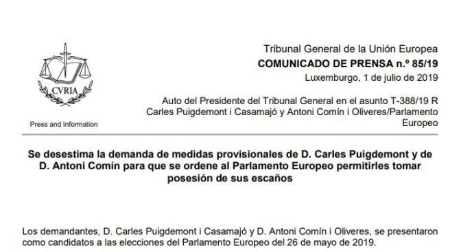 Auto por el que el TJUE rechaza las medidas cautelares solicitadas por Puigdemont y Comin.