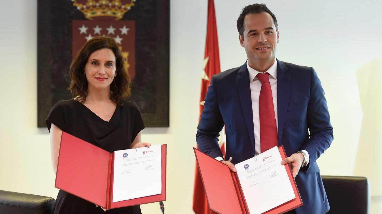 Isabel Díaz Ayuso (PP) e Ignacio Aguado (Ciudadanos) presentan este lunes su pacto de gobierno, sin contar con Vox.