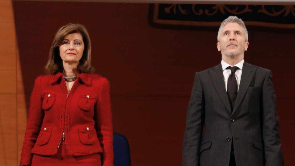 La secretaria de Estado de Seguridad, Ana Botella, y el ministro en funciones de Interior, Fernando Grande-Marlaska.