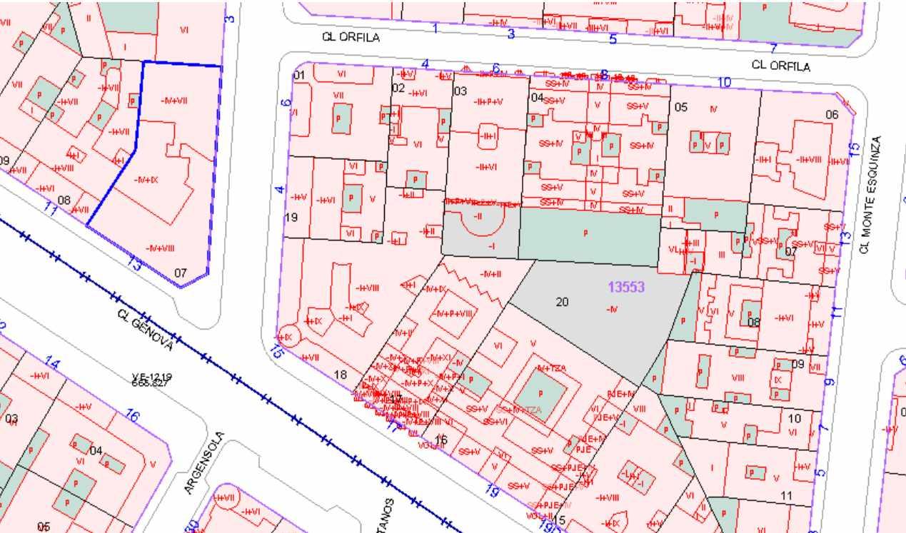 Plano cartográfico de la finca (delimitada en azul) en la que se ubica la sede nacional del PP.