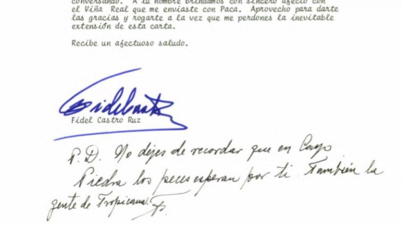 """Extracto final de la carta enviada por Fidel Castro a Felipe González el 19 de enero de 1988: """"No dejes de recordar que en Cayo Piedra los peces esperan por ti"""""""