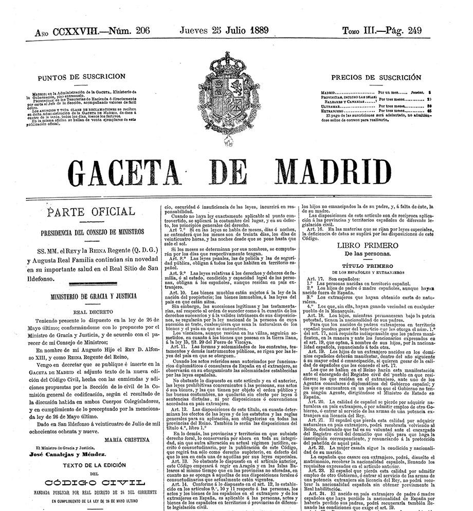 Portada de la Gaceta de Madrid con la publicación del Código Civil.