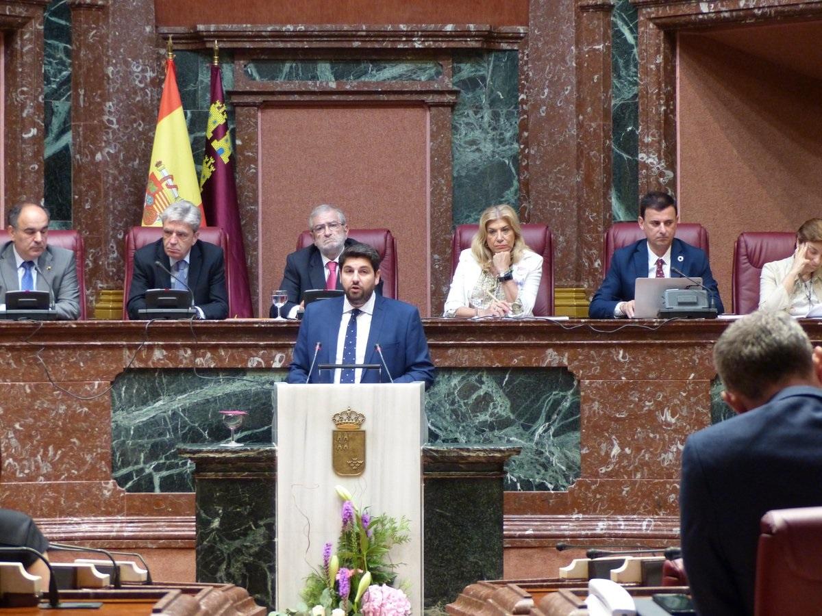 Fernando López Miras durante la primera sesión de investidura, la cual fracasó, el pasado martes.