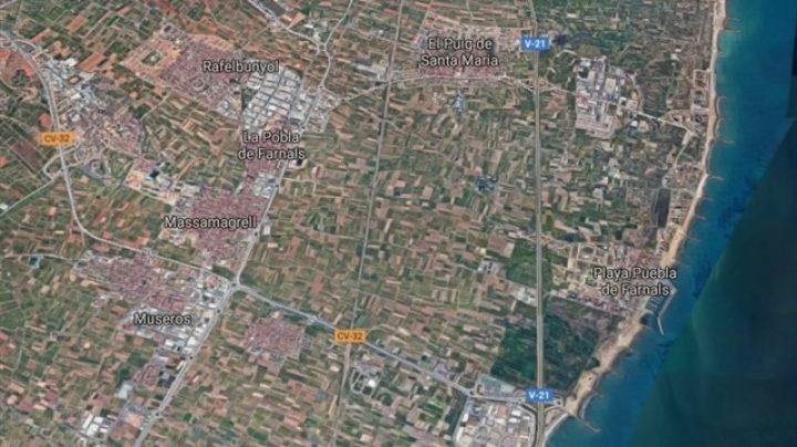 Localización de Museros, Massamagrell, la Pobla de Farnals, Rafelbunyol, el Puig de Santa Maria