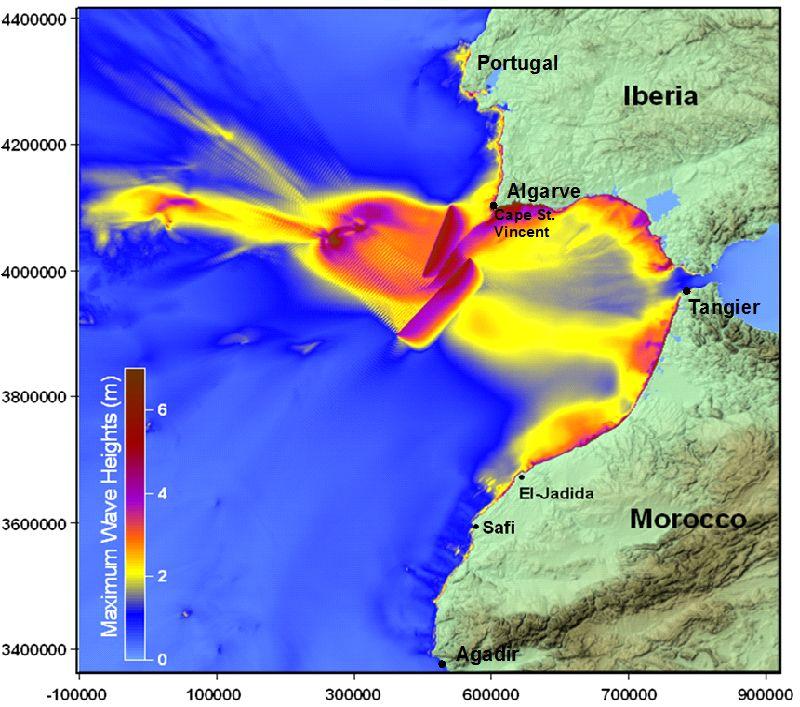 Alturas máximas de las olas y distribución de energía del tsunami