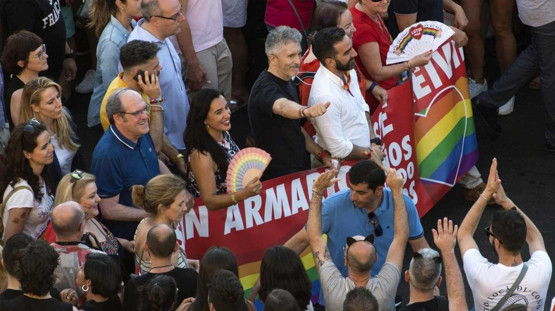 El ministro del Interior en funciones, Fernando Grande-Marlaska, en la última manifestación del Orgullo en Madrid.
