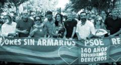 Grande-Marlaska, el pasado sábado en la cabecera de la manifestación del Orgullo en Madrid junto a otros representantes socialistas.