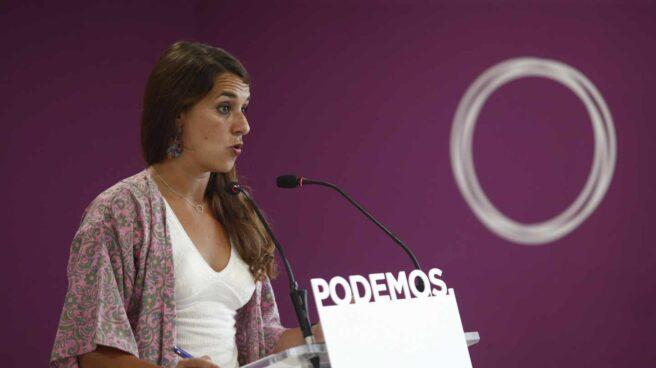 La portavoz del Consejo de Coordinación de Podemos Noelia Vera comparece ante los medios.