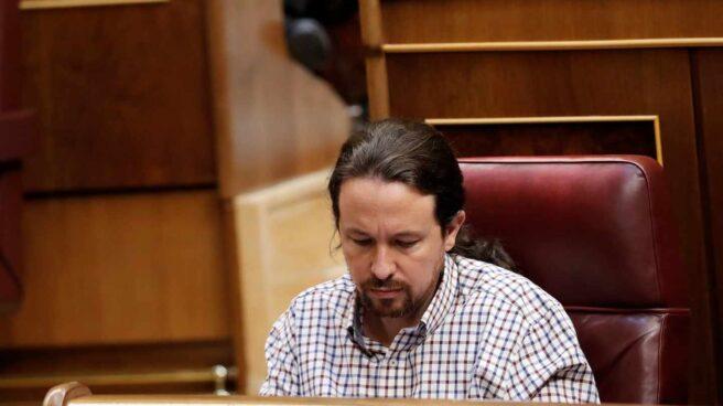 Pablo Iglesias, durante la sesión de investidura de este jueves.