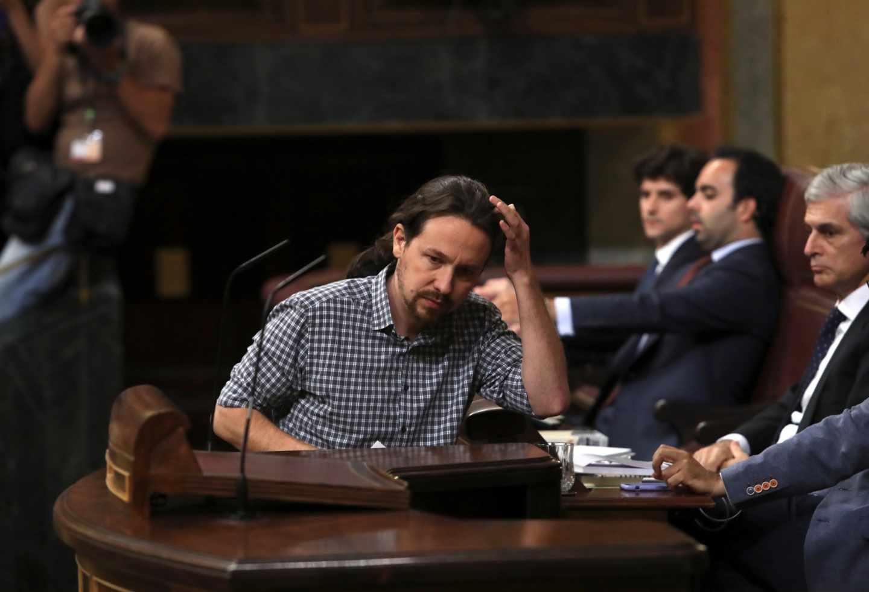 Pablo Iglesias, en la sesión de investidura.