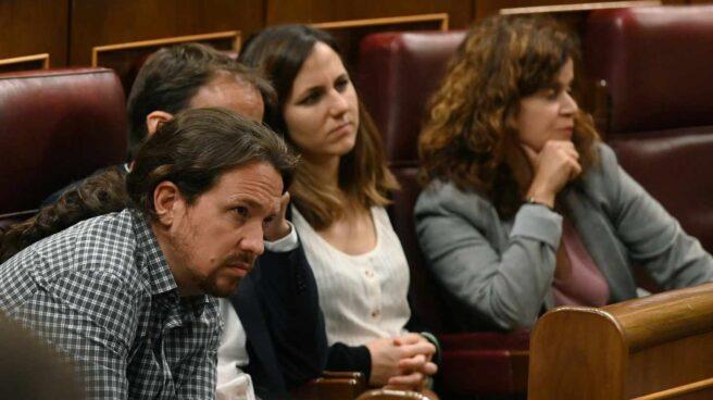 Pablo Iglesias, durante la sesión de investidura en el Congreso de los Diputados.