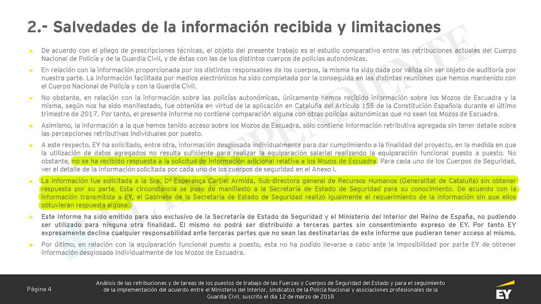 Salvedad detallada por la consultora sobre la falta de colaboración de la Generalitat.