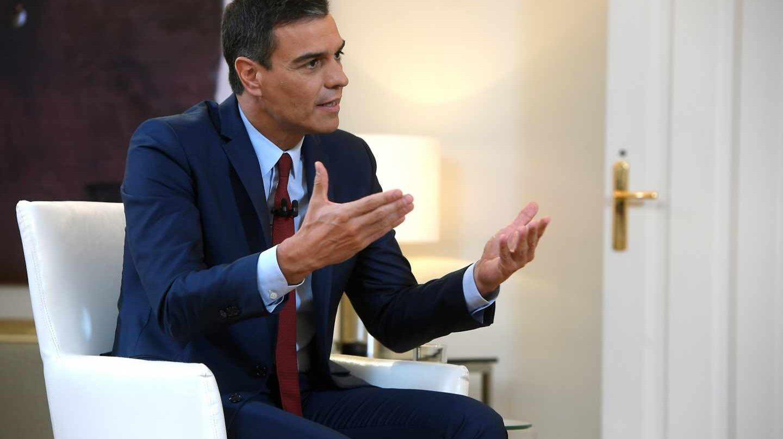 Pedro Sánchez, en Moncloa durante su entrevista con La Sexta.