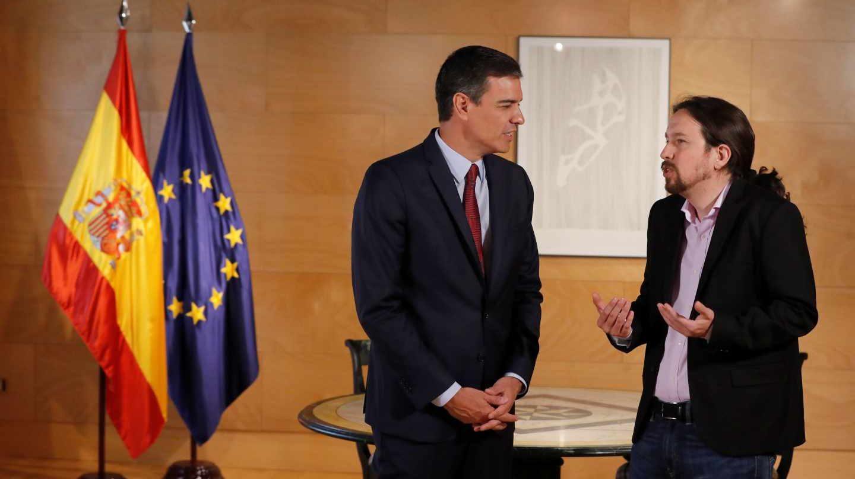 Pedro Sánchez y Pablo Iglesias en La Moncloa.