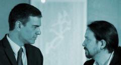 Pedro Sánchez y Pablo Iglesias durante una de sus reuniones en la Moncloa.