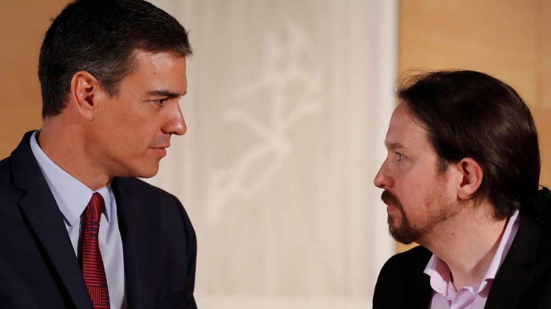 Pedro Sánchez y Pablo Iglesias, este martes en Moncloa.