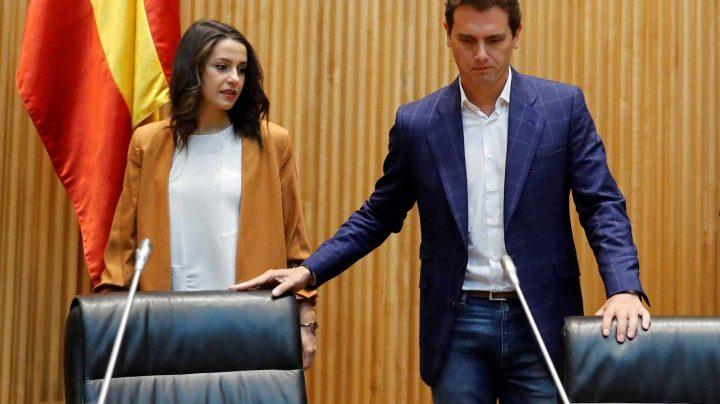 Albert Rivera e Inés Arrimadas, en el Congreso de los Diputados.