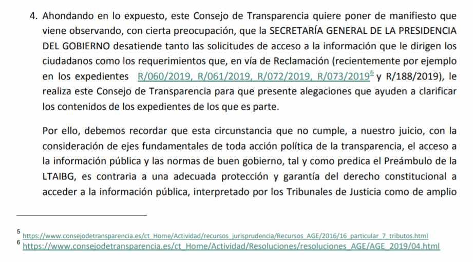 Resolución del Consejo de Transparencia en la que afea la forma de proceder de la Secretaría General de la Presidencia del Gobierno.
