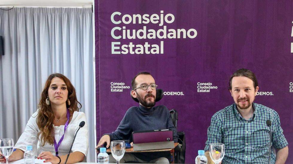 Noelia Vera, Pablo Echenique y Pablo Iglesias el pasado 8 de junio.