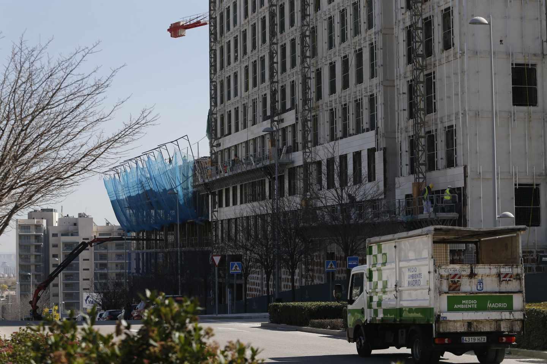 Bloque de viviendas en construcción en Madrid.