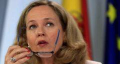 La ministra de Economía en funciones, Nadia Calviño, duratnte su comparecencia tras la reunión del Consejo de Ministros.