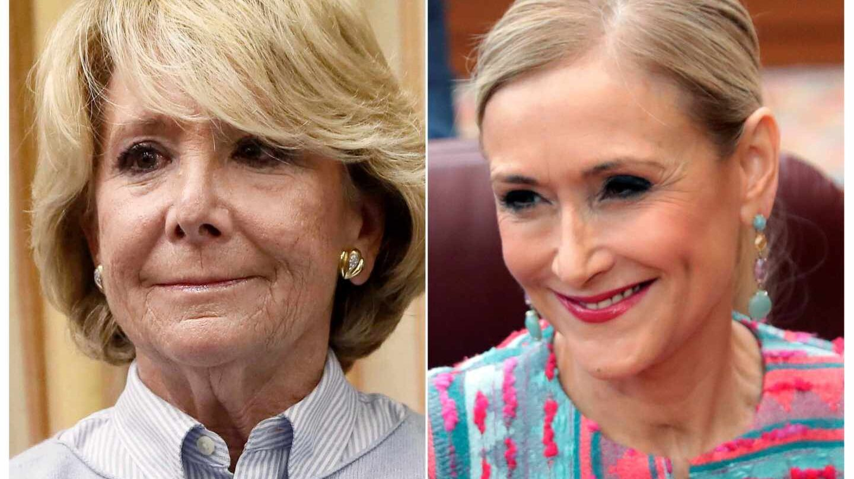 Las expresidentas madrileñas Esperanza Aguirre y Cristina Cifuentes.