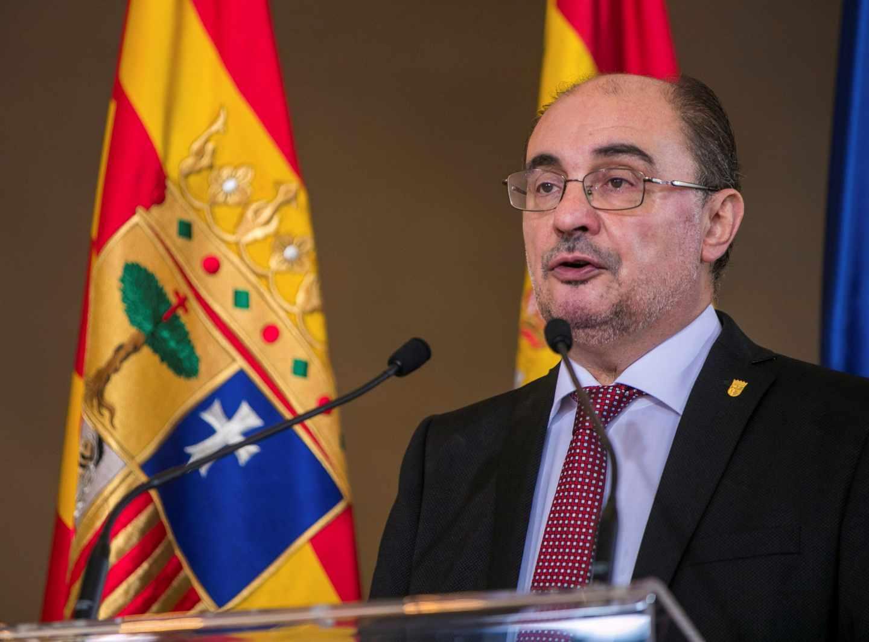 El presidente de Aragón, Javier Lambán, durante su discurso tras toma de posesión del cargo.