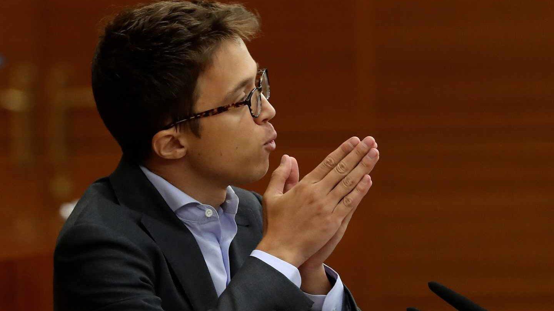 El portavoz de Más Madrid en la Asamblea de Madrid, Íñigo Errejón, durante su intervención en la segunda y última sesión del pleno de investidura
