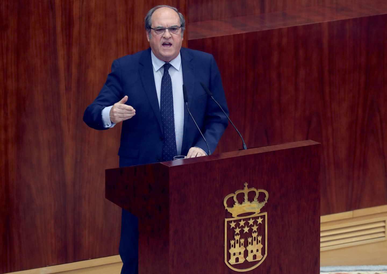 El portavoz del PSOE-M en la Asamblea, Ángel Gabilondo, durante su intervención en la sesión de la tarde previa a la votación de investidura.