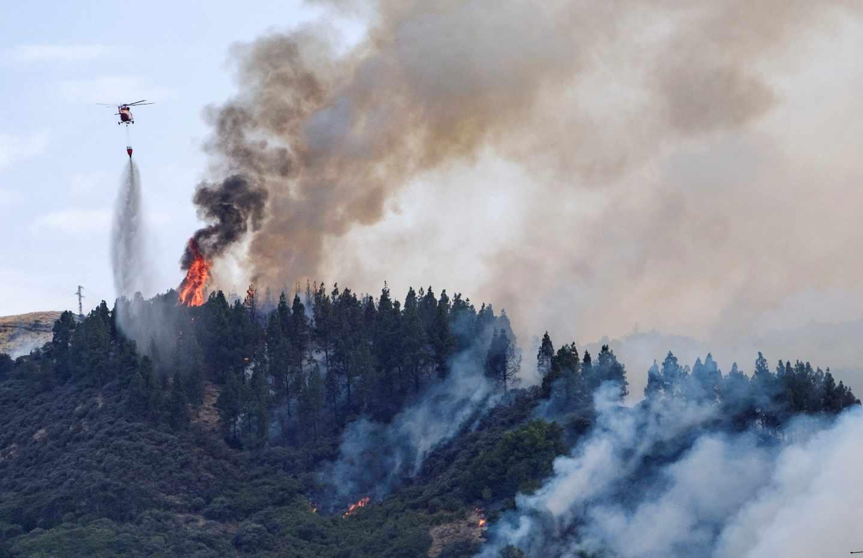 Incendio forestal en Valleseco, en la isla de Gran Canaria.