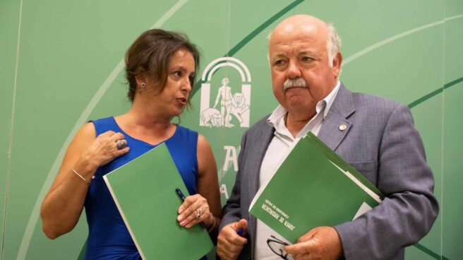 El consejero de Salud y Familias de la Junta de Andalucía, Jesús Aguirre(d) y la viceconsejera de su departamento, Catalina García Carrasco