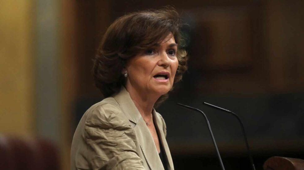 Carmen Calvo, en el Congreso.