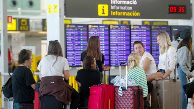Aeropuerto de El Prat, en Barcelona, durante la primera jornada de huelga.