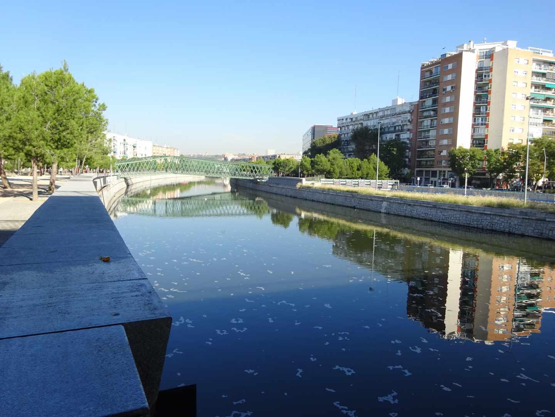El río a su paso por el Puente de San Isidro antes de la renaturalización