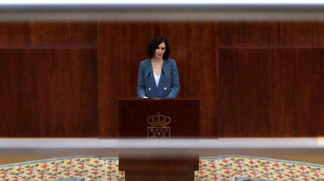 Isabel Díaz Ayuso, durante su discurso de la primera sesión del pleno de investidura.