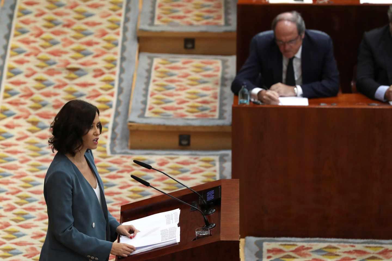 Isabel Díaz Ayuso, durante su discurso de investidura en la Asamblea de Madrid.