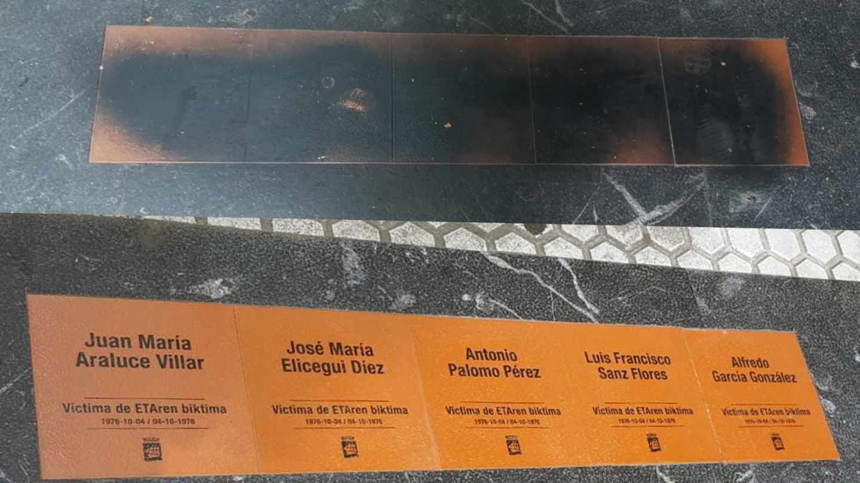 Así han aparecido las baldosas de las víctimas de ETA en San Sebastián