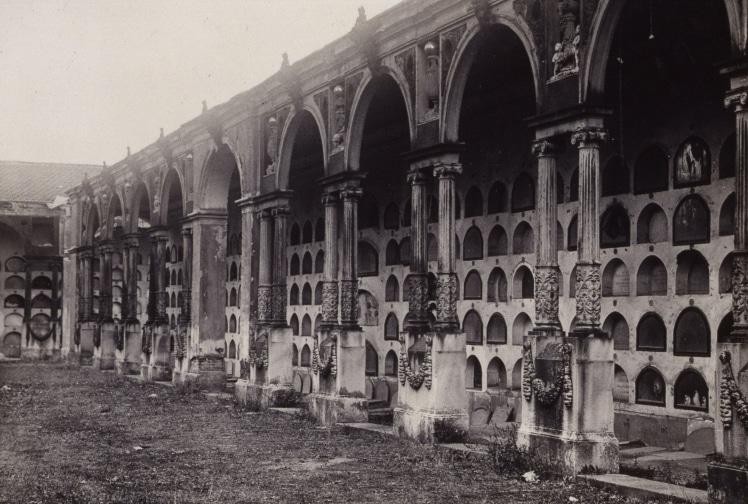 Imagen del cementerio en una fecha cercana a 1900 | Imagen procedente del Museo de Historia de Madrid y consultada a través de www.memoriademadrid.es