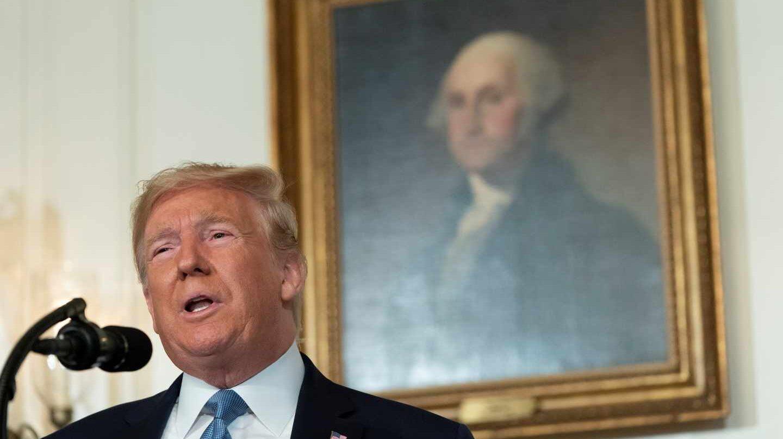 Donald Trump en su comparecencia en la Casa Blanca