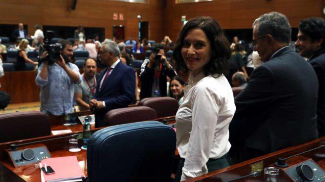 Isabel Díaz Ayuso, en el segundo pleno de investidura en la Asamblea de Madrid.