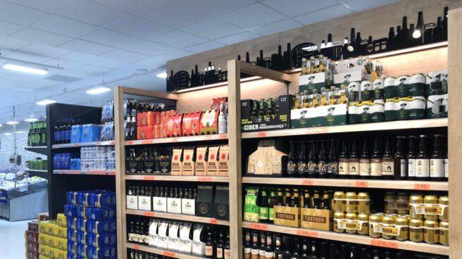Lineal de cervezas de Mercadona.