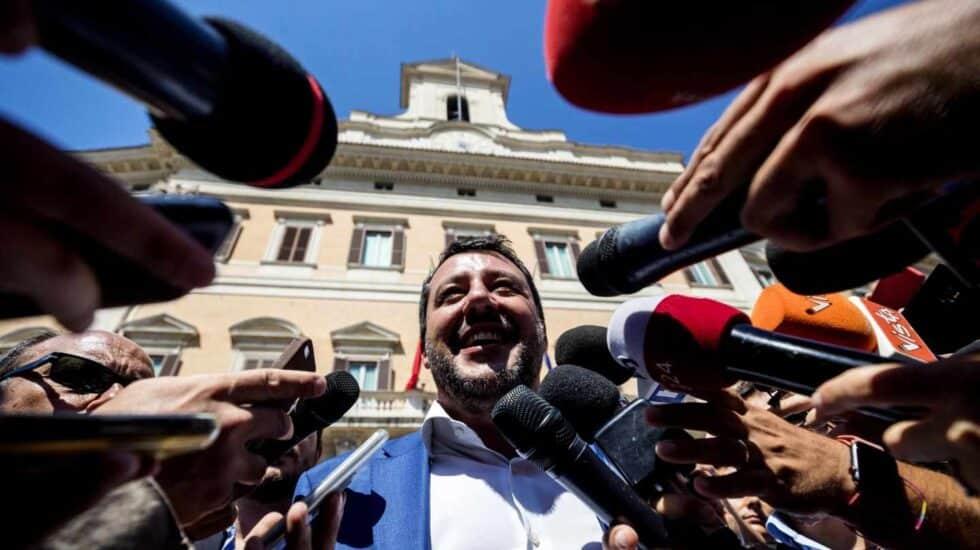 El líder de la Liga, Matteo Salvini, ante los medios en Roma.