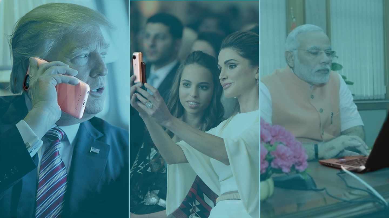 De izqda a dcha, Donald Trump, la reina Rania de Jordania y Narendra Modi.