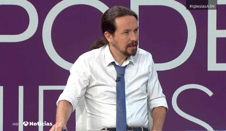 Pablo Iglesias, en los informativos de Antena 3.