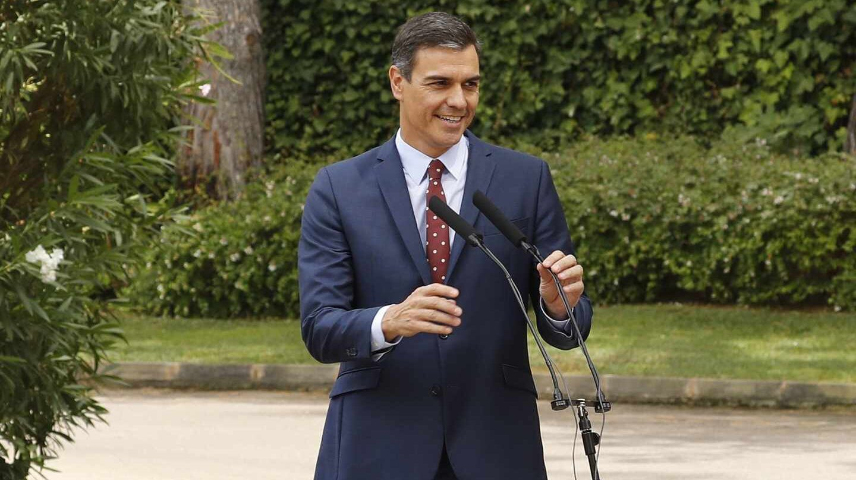 Pedro Sánchez, durante su comparecencia en el Palacio de Marivent.