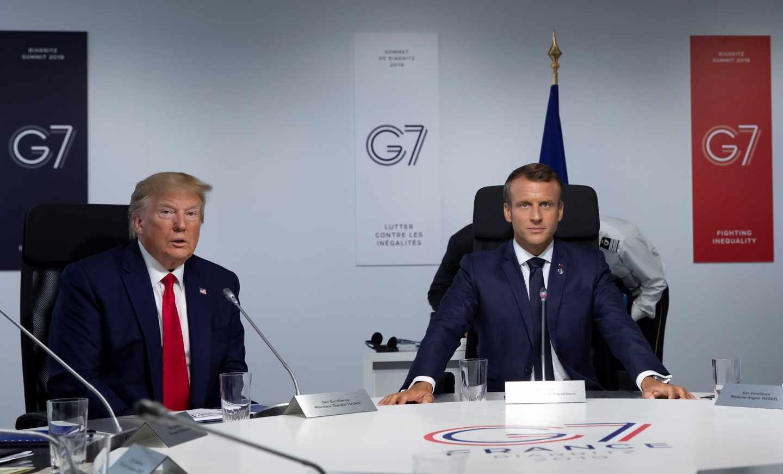 El presidente francés, Emmanuel Macron, anfritrión del G7, junto a Donald Trump, en Biarritz.
