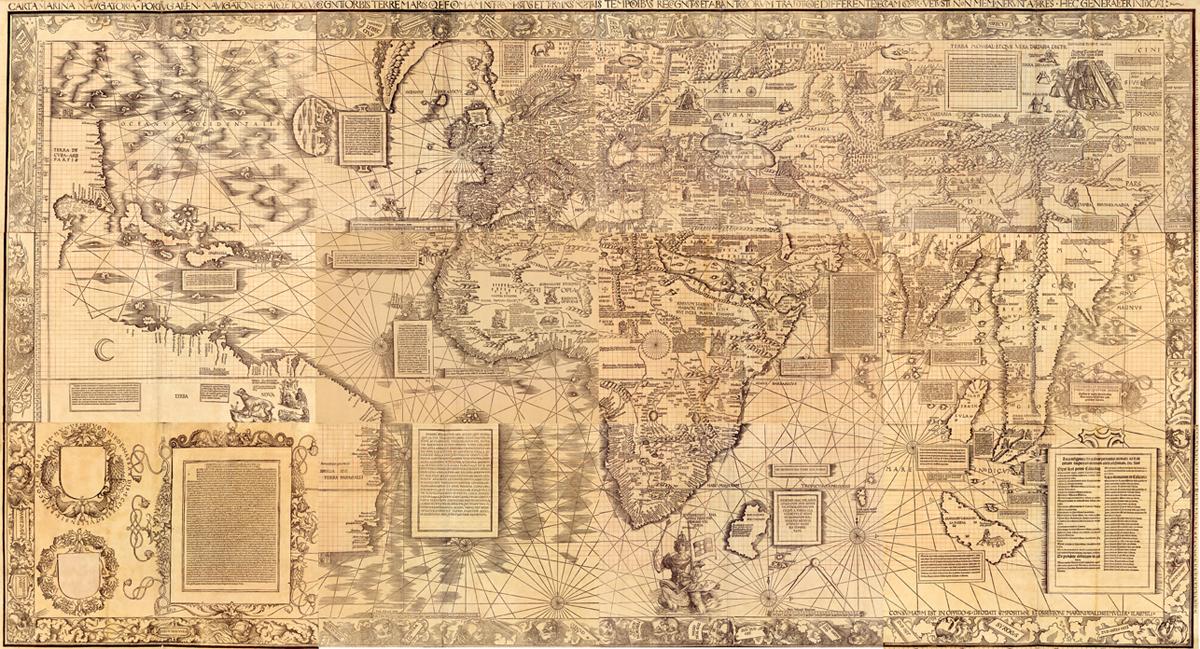 Mapa de Martin Waldseemüller publicado en 1516 mostrando el mundo conocido por los europeos en la época