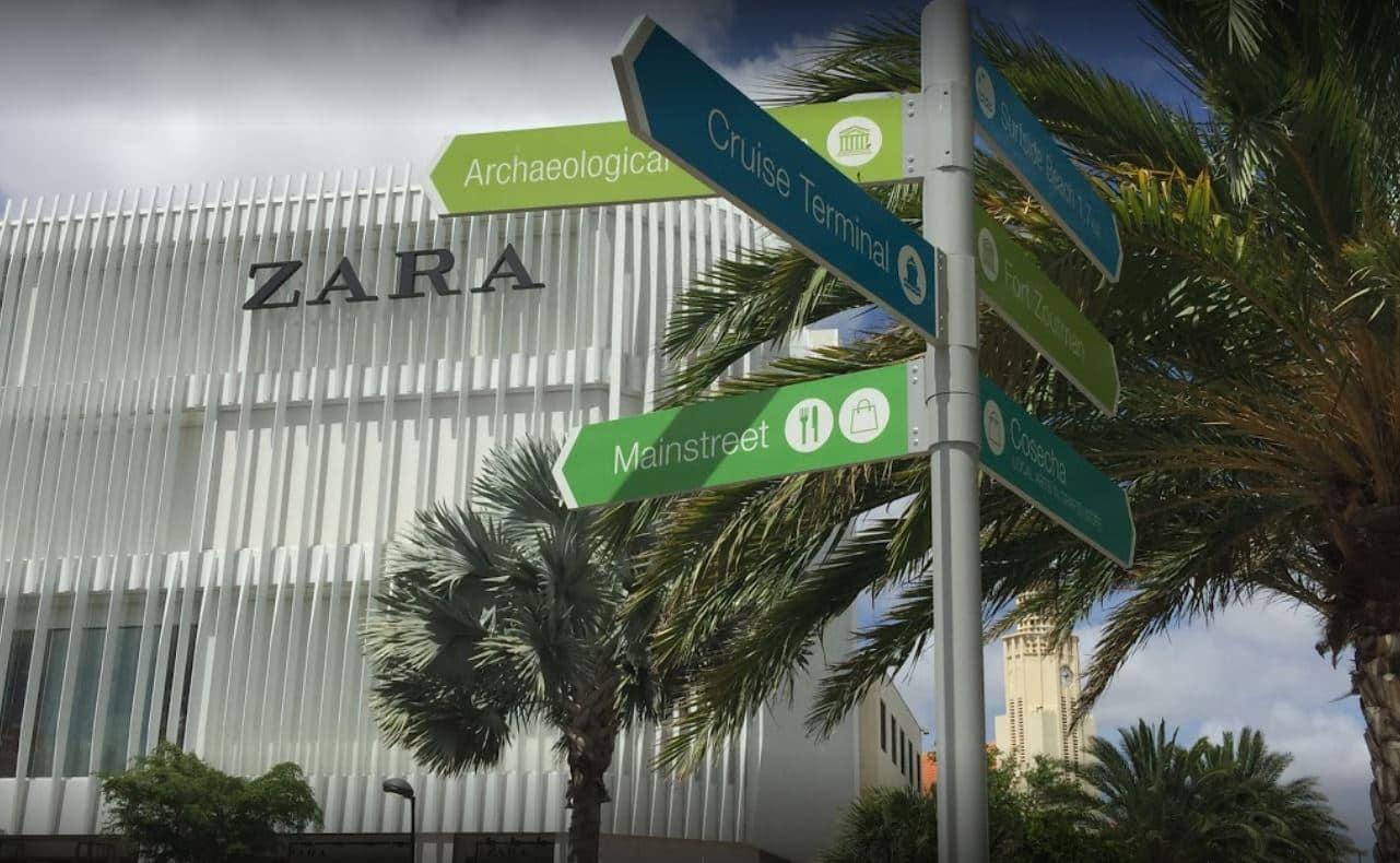 Fachada de la tienda de Zara en Aruba.