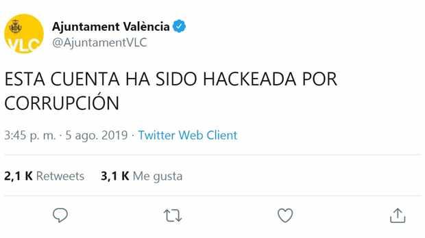 Hackean cuenta Twitter Ayuntamiento de Valencia