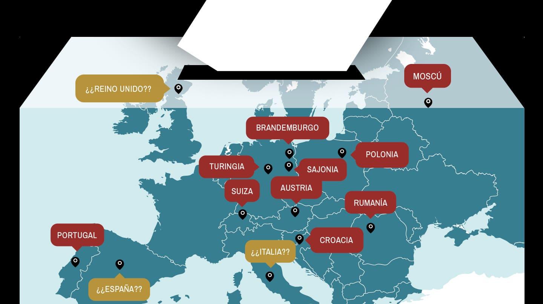 Mapa en el que se reflejan los principales procesos electorales en Europa.